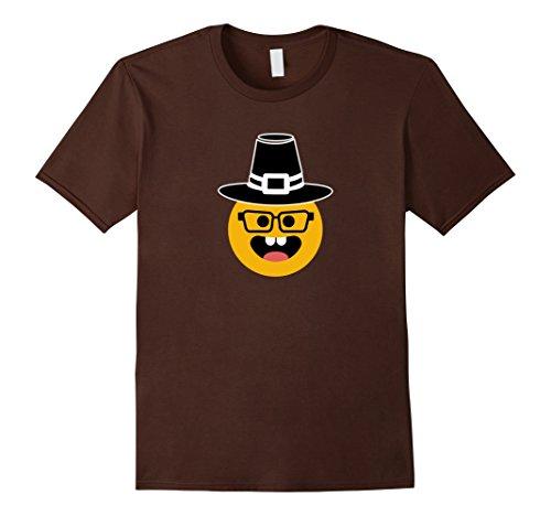 His And Her Nerd Costumes (Mens Thanksgiving Nerd Face Emoji Pilgrim Hat T-Shirt Funny Medium Brown)