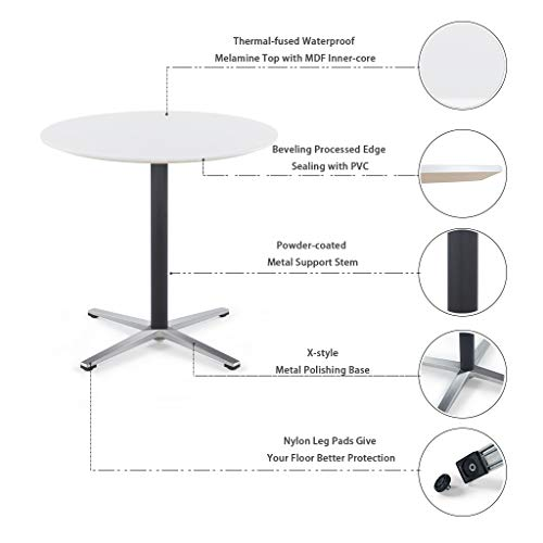 Sunon Round Bistro Table Small Round Table with X-Style Pedestal for Pub Table/Cafe Table/Office Table/Conference Table (Moon White,29.5-Inch Height) by Sunon (Image #5)