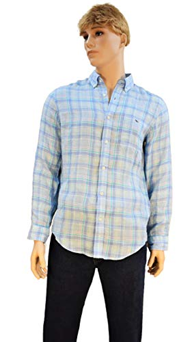 Vineyard Vines Men's Long Sleeve Button Down Whale Shirt Oxford (Baja Blue, ()