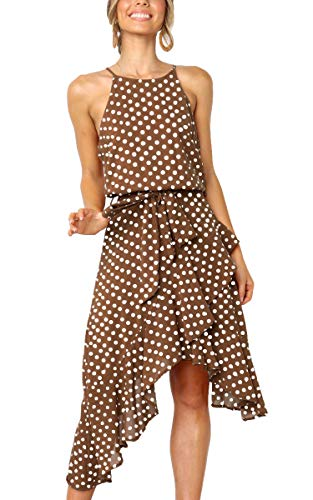 ECOWISH Womens Polka-dot Laced Irregular Cocktail Dress Sleeveless Neckholder Sexy Sundress Coffee 2XL