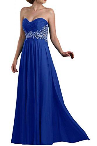 Dibujos en forma de corazón de la Toscana de novia vestidos de dama de honor por la noche la gasa bola Prom vestidos de fiesta de largo Azul Real