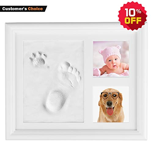 - Kithouse Baby Handprint Footprint Kit Clay Picture Frame Baby Photo Album - Personalized Baby Gifts Registry For Baby Shower Gifts Newborn Boys Girls Keepsake Box For Baby Room Nursery Wall Decor
