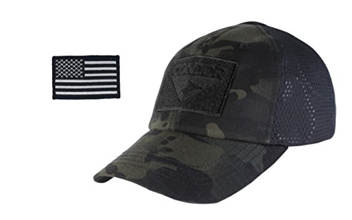 Condor Outdoor Cap & USA Flag Patch Stitching & Excellent Fit for Most Head Sizes (Black Multicam - Mesh)