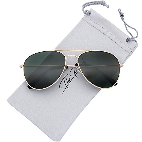 The Fresh Classic Large Metal Frame G15 Color Lens Aviator Sunglasses with Gift Box (Gold, Green G-15)