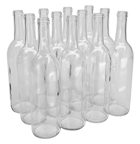 North Mountain Supply 750ml Glass Bordeaux Wine Bottle Flat-Bottomed Cork Finish - Case of 12 - Clear/Flint -