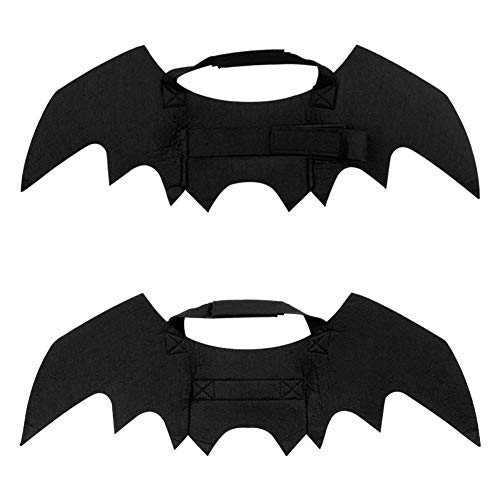 Petift Halloween Pet Bat Wings,Dog Cat Bat Costume,Black Vampire Wings Fancy Dress with Pumpkin Bells,DIY Halloween Decorations Ornament Jewelry Findings Charms Pendant for Kitty,Puppy(2 Pack) ()