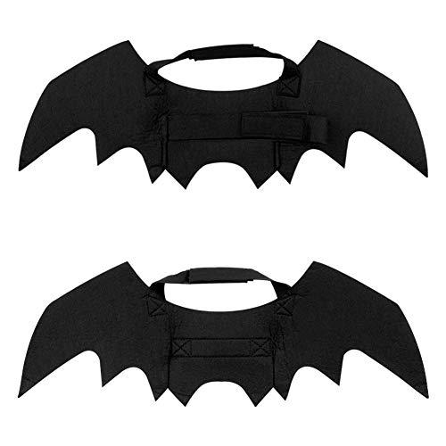 (URlighting Pet Bat Wings Halloween Costume, Cat Dog Cool Bat Wings 2 Pet Collar Bells, Pet Festival Fancy Dress up Puppy Kitten DIY Halloween Party (2)