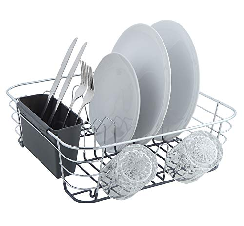 SunnyPoint Chrome Plated Steel Small Dish Drying Drainer Basket Rack With Utensil Holder ()