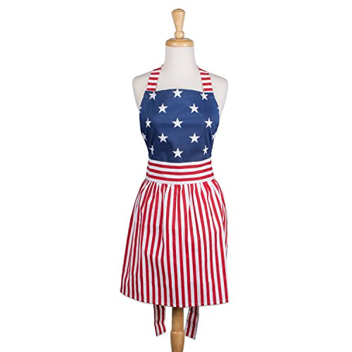 DII Cotton Vintage American Flag  Women Apron Dress with Extra Long Ties, 31 x 28