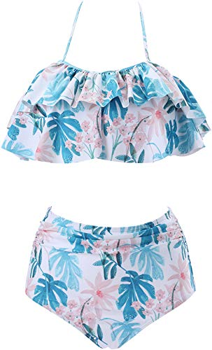 Women's High Waist Bikini Set Halter Neck Two Piece Swimsuit Beach Swimwear for Ladies (Flower D, Small)