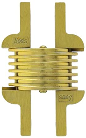 SOSS 106 Zinc Invisible Hinge with Holes for Metal Applications, Concealed Surface Mount, Satin Brass Exterior Finish (Pack of 2)