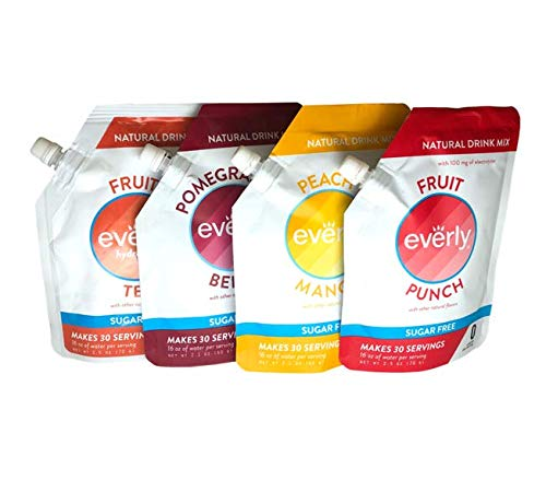 (Everly Hydration (Variety Pack - 4 Flavors, 4 Pouches) - Sugar Free, Natural Sweeteners, Water Flavoring. 4 X 30 servings. Fruit Punch / Strawberry Lemonade / Pomegranate Berry / Peach Mango)