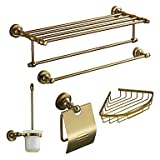 Bath Accessory Set, Antique 5 Piece Gold Anodizing Aluminum Hardware Set