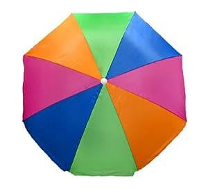 Pink, Orange, Green and Blue 7.5 Foot Nylon Tilting Beach Umbrella
