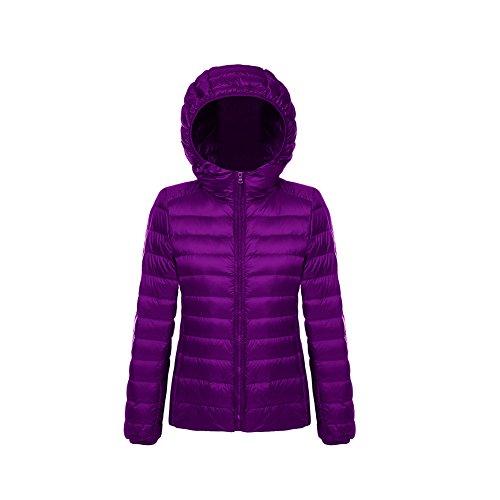 Women's Ultra Lightweight Short Hooded Down Jacket Puffer Coat Purple 1