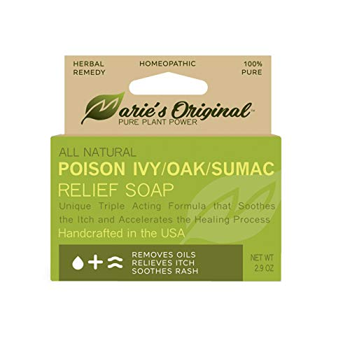 Marie's Original Poison Ivy Soap Bar   All Natural Poison Ivy Treatment   Anti-Itch Skin Cleanser Bar for Poison Ivy, Poison Oak & Sumac   Removes Oils, Soothes & Relieves Rashes   2.9 Ounces