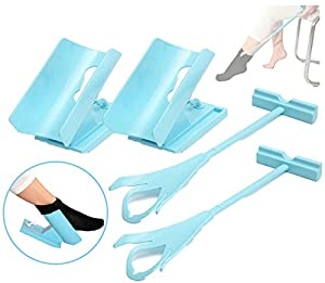 2pc Easy Sock On & Off Sliding Helper Aid - Shoe Horn Dressing Assistance - Helps Putting On Your Socks & Shoe Device - Perfect For Elderly & People Needing Additional Assistance. from 5starsuperdeals