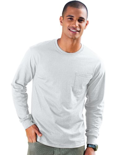 - Hanes mens 6.1 oz. Tagless ComfortSoft Long-Sleeve Pocket T-Shirt(5596)-ASH-2XL