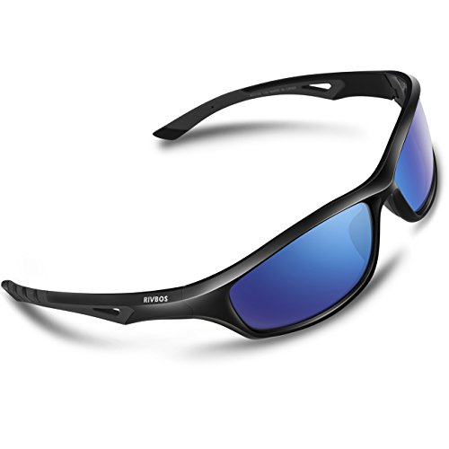 RIVBOS Sports Polarized Sunglasses Driving Glasses for Men Women Tr 90 Flexible Frame for Cycling Baseball Running 842 (Black, Blue Iced - Sunglasses Mountain