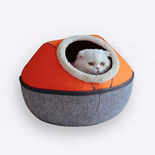 K KAMY'S ZOO Felted Cat Cave Bed, Cat House Bed, Cat Window Hammock Perch