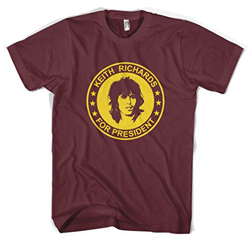 Revolver Tees Keith Richards For President The Rolling Stones Unisex T-Shirt All Sizes Colours (L, Burgundy)