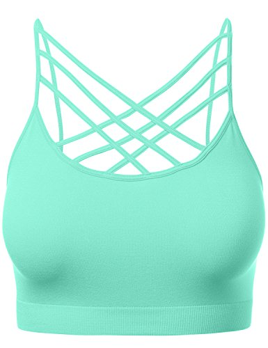 Women's Novelty Bras Criss-Cross Front Seamless Triple Bralette Sports Bra BLUEMINT SM
