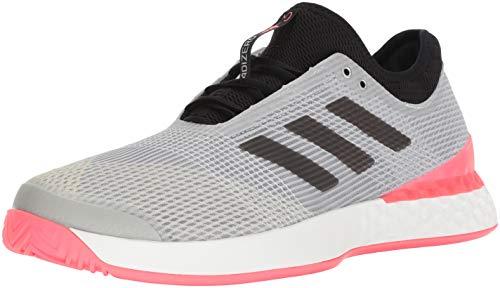 (adidas Men's Adizero Ubersonic 3 Tennis Shoe, matte silver/black/flash red, 11 M US)