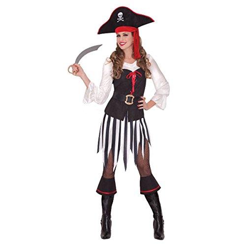 Amscan Striking Adult High Sea Sweetheart Pirate Halloween Costume, Black/White - Halloween Costume Black Skirt White Top
