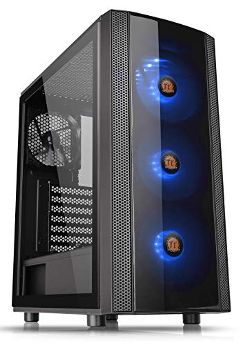 Atx Desktop - Thermaltake Versa J25 Tempered Glass RGB Edition 12V MB Sync Capable ATX Mid-Tower Chassis with 3 120mm 12V RGB Fan + 1 Black 120mm Rear Fan Pre-Installed CA-1L8-00M1WN-01