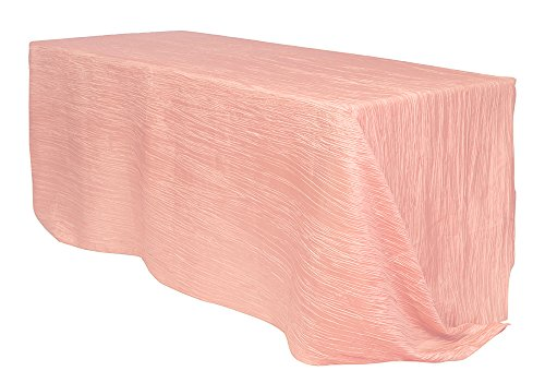 90 x 132 inch Rectangular Crinkle Taffeta Tablecloths Blush