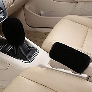 Uphily White Fluffy Auto Car Gear Shift Knob Cover /& Fuzzy Furry Handbrake Cover Protector Bundle Set for Women Girls