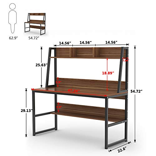 Tribesigns Computer Desk with Hutch and Bookshelf, 47'' Home Office Desk with Space Saving Design for Small Spaces, Retro Brown by Tribesigns (Image #6)