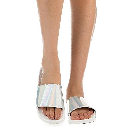 Sandalo In Sandalo Piatto Donna In Bambù Moira-16 Argento