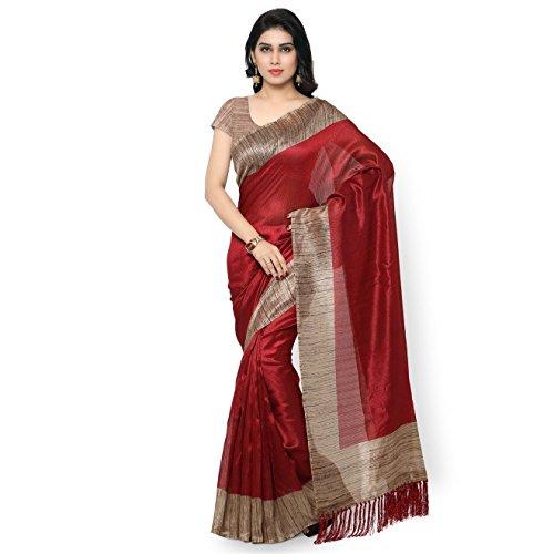 Rajnandini-Womens-Tussar-Silk-Plain-SareeJOPLNB3006MaroonFree-Size