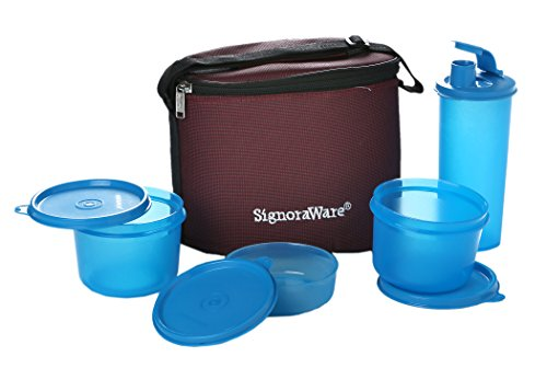 Signoraware Medium Executive Lunch Box with Bag Set, 5-Pieces, Turkish Blue