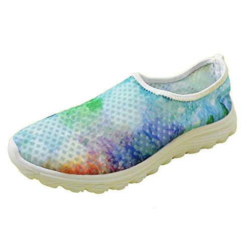 Para U Diseños Elegante Galaxia Floral Estampado Para Mujer Malla Ocasional Transpirable Zapatos Para Correr Verde 2