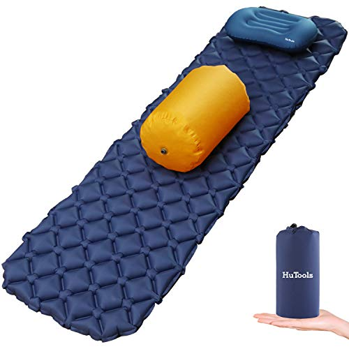 HuTools Sleeping Pad for Camping with Pillow Inflatable Sleeping Pad for Backpacking Inflatable Camping Mattress for Sleeping Bag Pad Camping Pad for Travel & Hiking Pump Sacks Included (Under Hammock Pad)