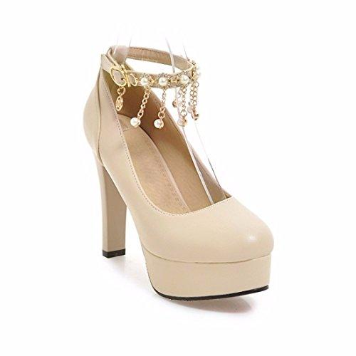 Perlas Altos Borlas Nacional de Grande Apricot Talla de Tacón Señoras Zapatos Impermeable de Tacones Zapatos TYpqBqwxI