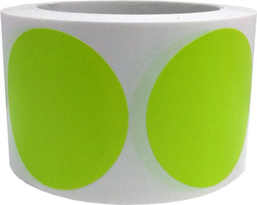 "Hot Green Color Coding Dot Labels 3"" Inch Round - 500 Colored Circle Inventory Stickers Per Roll"