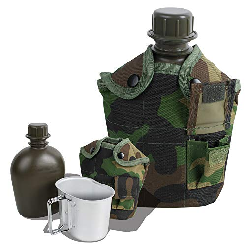 CARESHINE 3 Piece Canteen Kit with Cover Aluminum Cup Military Stainless Steel Canteen with Army Green Nylon Canteen Cover by CARESHINE