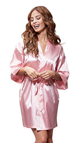 Turquaz Linen Satin Kimono Bridesmaids Robe (Small/Medium,