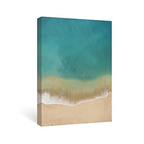 SUMGAR Paintings for Living Room Canvas Wall Art Turquoise Ocean Framed Prints Beige Seaside