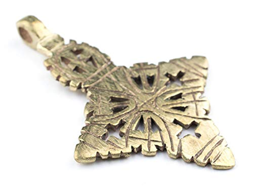 Brass Ethiopian Coptic Cross Pendant, 100% Authentic & Genuine African Abyssinian Product, Orthodox Christian Pendant for Jewelry, The Bead Chest