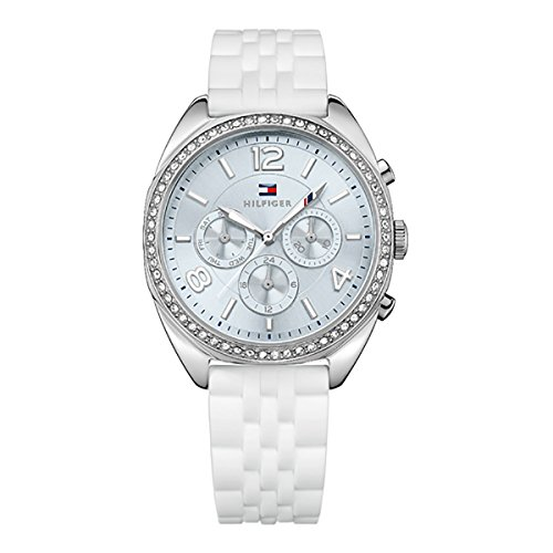 Tommy Multifunction Watch Hilfiger - Tommy Hilfiger Multi-Function Silver Dial White Silicone Ladies Watch 1781569
