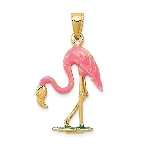 14k Yellow Gold Enameled 3 D Pink Flamingo Pendant Charm Necklace Sea Life Bird Fine Jewelry Gifts For Women For Her ()
