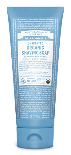 Dr. Bronner's - Organic Shaving Soap (7 Ounce) - Certified Organic, Sugar and Shikakai Powder, Soothes and Moisturizes for Close Comfortable Shave, Use on Face, Underarms and Legs (Unscented) 1 USDA ORGANIC & FAIR TRADE INGREDIENTS: Fair trade & organic sugar combined with organic white grape juice keeps your skin nourished & moisturized. Organic coconut-olive-hemp oils blend for a creamy castile lather—our soapmaking tradition! SHAVE, CLEANSE & HYDRATE ALL AT ONCE: Our shave gel is a multifunctional product—like most of our products. Cleanse as you shave and leave your skin moisturized! Use on your face, underarms & legs—for both men & women. All-One! ORGANIC SHIKAKAI POWDER FOR SHAVING: Shikakai powder, derived from a tree pod, has long been used in traditional hair & body care in India. Shikakai hydrates & soothes dry skin while it cleanses. Great for shaving—so give your skin a treat!