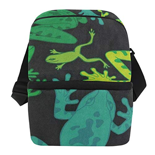 Lovexue Lunch Bag Watercolor Frog Animal Black Insulated Cooler Bag Mens Leakproof Grocery Organizer Zipper Tote Bags for Car