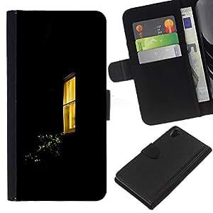 iBinBang / Flip Funda de Cuero Case Cover - Window Yellow Black Home - Sony Xperia Z2 D6502 D6503 D6543 L50t