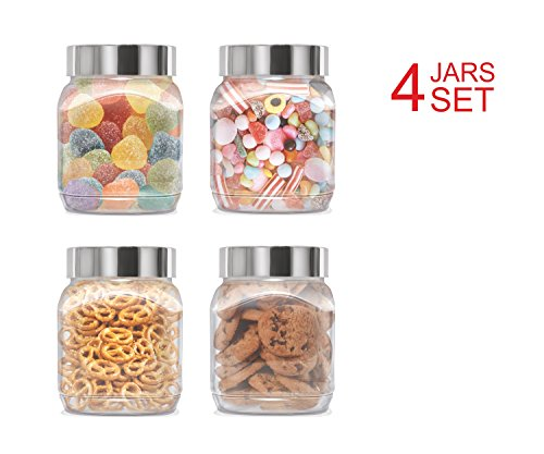 Plastic Jars Set; Milton Food Storage Containers Clear Square Lightweight PET Canisters; Airtight Lids Caps; 34 Oz 4-Pack