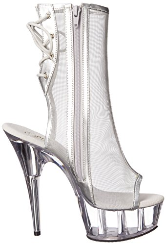 Pleaser DELIGHT-1018MSH Slv Pu-Mesh/Clr Size UK 8 EU 41